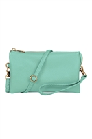 S24-4-3-7013MINT - FAUX CROSSBODY WRISTLET BAG - MINT/3PCS