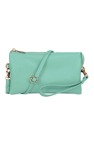 S24-4-3/S24-3-2-7013MINT - FAUX CROSSBODY WRISTLET BAG - MINT/3PCS