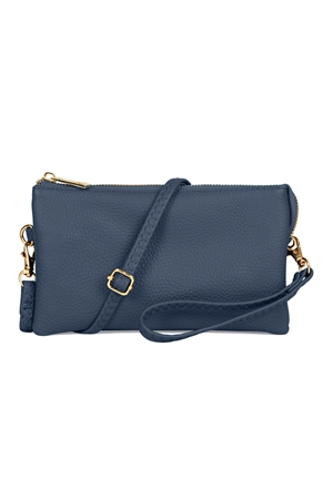 S24-4-2/S24-3-2-7013NV -FAUX CROSSBODY WRISTLET BAG - NAVY/3PCS