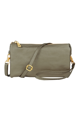 S24-4-3-7013PT -FAUX CROSSBODY WRISTLET BAG - PEWTER/3PCS