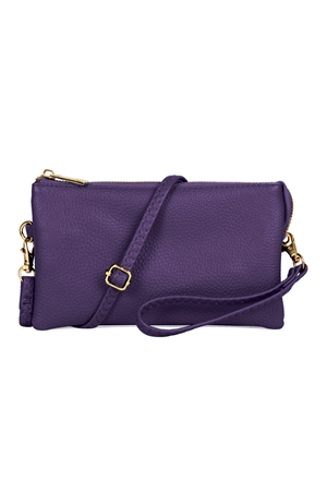 S24-4-2/S24-3-2-7013PU - FAUX CROSSBODY WRISTLET BAG - PURPLE/3PCS