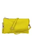 S24-4-2-7013PYELLOW - FAUX CROSSBODY WRISTLET BAG - P. YELLOW/3PCS