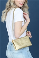 S24-4-2/S24-3-2-7013RSG -FAUX CROSSBODY WRISTLET BAG - ROSE GOLD/3PCS