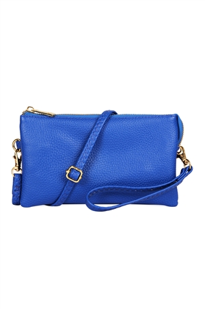 S24-4-2/S24-3-2-7013RYBLU -FAUX CROSSBODY WRISTLET BAG -ROYAL BLUE/3PCS