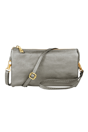 S24-4-2/S24-3-27013SI -FAUX CROSSBODY WRISTLET BAG - SILVER/3PCS