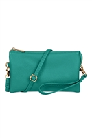 S24-3-2-7013TQ -FAUX CROSSBODY WRISTLET BAG - TURQUOISE/3PCS