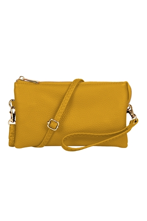 S24-4-2/S24-3-2-7013YE - FAUX CROSSBODY WRISTLET BAG - YELLOW/3PCS