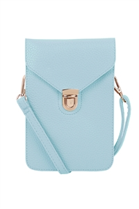 S18-9-1-7081BBLU - CROSS BODY LEATHER BAG - BABY BLUE/3PCS