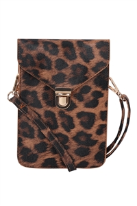 S17-10-3-7081BRLEO - CROSS BODY LEATHER BAG - BROWN LEOPARD/3PCS