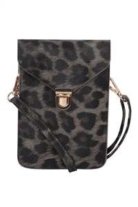 S18-11-5-7081GYLEO - CROSS BODY LEATHER BAG - GRAY LEOPARD/3PCS