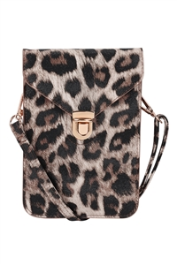 S18-9-1-7081IVLEO - CROSS BODY LEATHER BAG - IVORY LEOPARD/3PCS