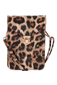 S18-12-2-7081LEO - CROSS BODY LEATHER BAG - LEOPARD/3PCS
