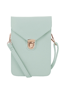 S18-11-5-7081MNT - CROSS BODY LEATHER BAG - MINT/3PCS