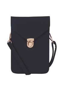 S17-10-3-7081NV - CROSS BODY LEATHER BAG - NAVY/3PCS