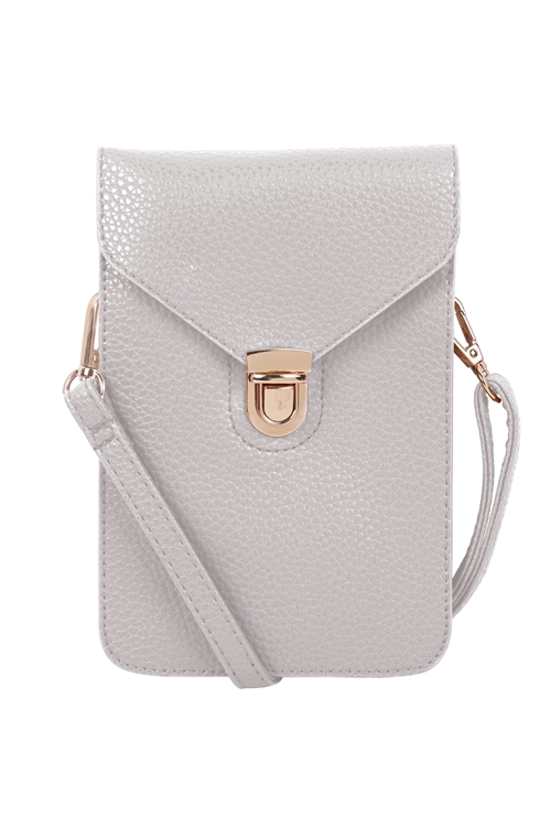 S18-12-2-7081SV - CROSS BODY LEATHER BAG - SILVER/3PCS