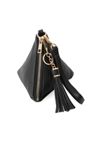 S17-6-4-7092BLK- BLACK PYRAMID SHAPE TASSEL WRISTLET LEATHER  BAG/3PCS
