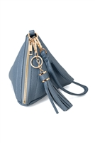 S17-6-4-7092JEAN- PYRAMID SHAPE TASSEL WRISTLET LEATHER  BAG/3PCS