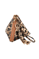 S17-6-4-7092LEO- LEOPARD PYRAMID SHAPE TASSEL WRISTLET LEATHER  BAG/3PCS