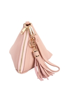 S17-6-4-7092LPINK- LIGHT PINK PYRAMID SHAPE TASSEL WRISTLET LEATHER  BAG/3PCS