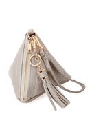 S17-5-4-7092PEWTER- PYRAMID SHAPE TASSEL WRISTLET LEATHER  BAG/3PCS