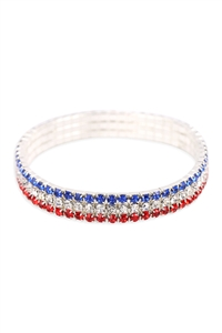 S18-8-1-82887MU-S - FLAG 3 LINE COLORED ELASTIC BRACELET/6PCS
