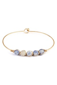 S7-5-3-A83322MOG BLUE 6mm NATURAL STONE WIRE BRACELET/6PCS