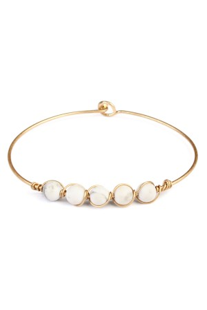 S6-6-2-A83322WHG WHITE 6mm NATURAL STONE WIRE BRACELET/6PCS