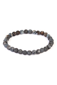 S6-4-2-A83356JT BLACK NATURAL BEAD STRETCH BRACELET/6PCS