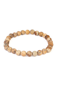 S6-5-3-A83356LCT BROWN NATURAL BEAD STRETCH BRACELET/6PCS