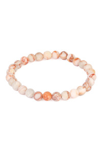 S6-4-2-A83356LPE LIGHT PEACH NATURAL BEAD STRETCH BRACELET/6PCS
