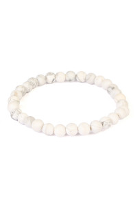 S6-4-2-A83356WH WHITE NATURAL BEAD STRETCH BRACELET/6PCS