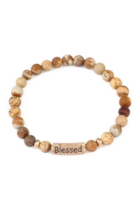 S6-6-4-A83382LCTG BROWN BLESSED NATURAL STONE STRETCH BRACELET/6PCS