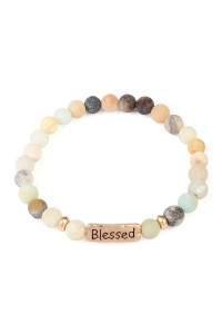 S6-6-4-A83382POMG MULTI BLESSED NATURAL STONE STRETCH BRACELET/6PCS