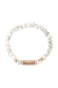 S6-6-4-A83382WHG WHITE BLESSED NATURAL STONE STRETCH BRACELET/6PCS