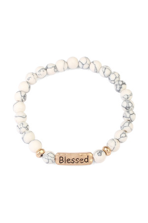 S6-5-3-A83382WHG WHITE BLESSED NATURAL STONE STRETCH BRACELET/6PCS