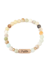 S6-5-3-A83383POMG MULTI FAITH NATURAL STONE STRETCH BRACELET/6PCS
