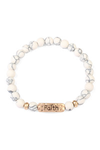 S6-4-2-A83383WHG WHITE FAITH NATURAL STONE STRETCH BRACELET/6PCS