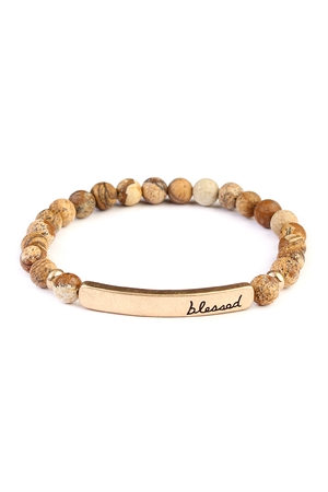 7af53ff22cb Quick View this Product S7-5-2-A83395LCT-G BROWN BLESSED 6mm NATURAL STONE  STRETCH BRACELET