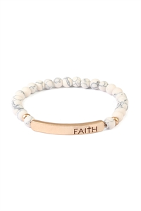 S7-6-2-A83396WH-G WHITE FAITH 6mm NATURAL STONE BRACELET/6PCS