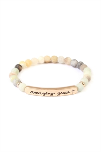 S7-6-2-A83397POM-G MULTI COLOR AMAZING GRACE 6mm NATURAL STONE BRACELET/6PCS