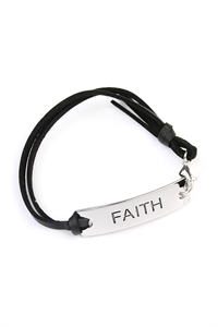 S6-5-3-A83416JT-S SILVER FAITH LEATHER CLASP BRACELET/6PCS