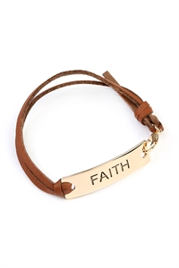 S6-5-4-A83416STO-G GOLD FAITH LEATHER CLASP BRACELET/6PCS