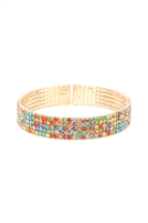 S22-6-4-83423AQM-G - 5 ROW MEMORY WIRE CUFF BRACELET - GOLD MULTICOLOR/6PCS