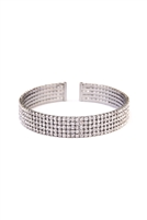 S22-6-4-83423CR-BN-5 ROW MEMORY WIRE CUFF BRACELET-BURNISH SILVER/6PCS