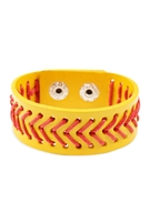 S22-8-1-83436JO-S - SOFTBALL LEATHER BRACELET/6PCS