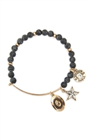 S24-8-2-83674JT-BG - COWBOY HAT CHARM NATURAL STONE BEADS WIRE BRACELET - BLACK GOLD/6PCS