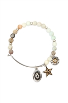 S24-8-2-83674POM-BS - COWBOY HAT CHARM NATURAL STONE BEADS WIRE BRACELET - AMAZONITE SILVER/6PCS