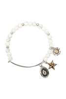 S24-8-2-83674WH-BS - COWBOY HAT CHARM NATURAL STONE BEADS WIRE BRACELET - WHITE SILVER/6PCS