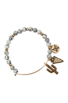 S25-8-5/S24-8-4-83678BD-BG - CACTUS CHARM WITH NATURAL STONE WIRE BRACELET - GRAY GOLD/6PCS