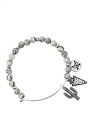 S25-8-5/S24-8-4-83678BD-BS - CACTUS CHARM WITH NATURAL STONE WIRE BRACELET - GRAY SILVER/6PCS